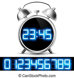 table clock with digital display and a set of numbers