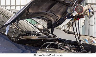 Car refilling air condition in air car shop