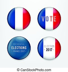 France Presidential Election Voting. Badges Set. A set of french buttons and caps.Vector Illustration.