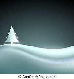 Vector landscape with Christmas tree