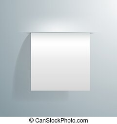 blank white sheet of paper sticking out of the wall