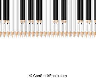 keys of a musical instrument consisting of pencils