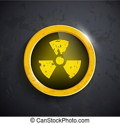 button with the sign of the radioactivity
