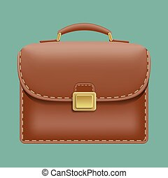 Vector brown leather briefcase