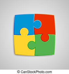 Four pieces of the puzzle are interconnected