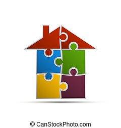 house consisting of pieces of the puzzle