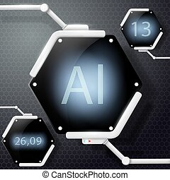 Futuristic screen with the designation of a chemical element
