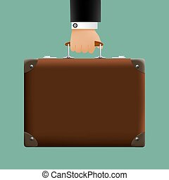 man in a suit holding a brown briefcase