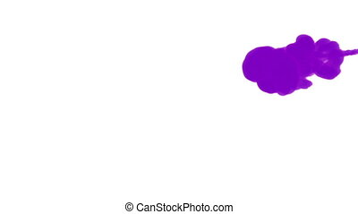 INK BACKGROUND FOR COMPOSITING. VIOLET SMOKE or INK IN WATER SERIES. Watercolor dropped in water on white background. Voxel graphics. Ink dissolving in water. Version 1