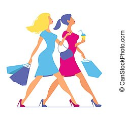 Silhouette of women with shopping bags. Silhouette of women on a pink background.