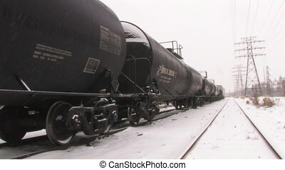 Freight train in snow.