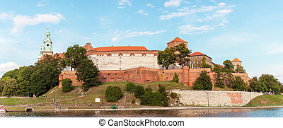 Wawel Castle from the Vistula River at sunset. Cracow, Poland.