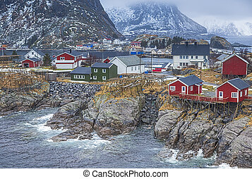 Norwegian Fishing Hut Village in Hamnoy During Early Spring...