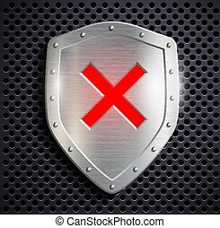 metal shield with the sign ban