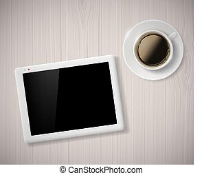 cup of coffee and a digital tablet on the table