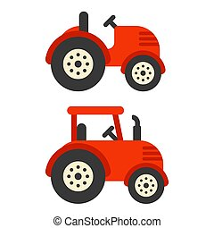 Red tractor illustration