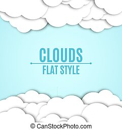 Background of white paper clouds with a shadow. A place for your projects. Light blue sky. Vector illustration