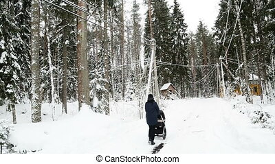 mother is walking with a stroller in the winter in a pine...