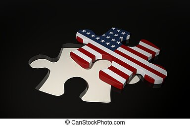 American Puzzle Piece - Flag of USA.