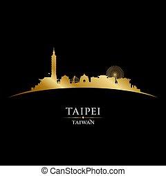 Taipei Taiwan city skyline silhouette black background