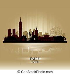 Taipei Taiwan city skyline vector silhouette
