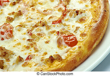 Pizza with mozzarella, chedar and tomatoes. close up