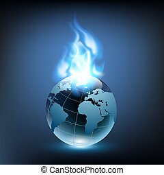 blue flame and planet earth