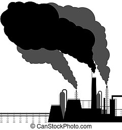 Pollution. Black silhouette on a white background