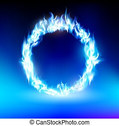ring with a blue flame
