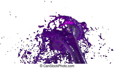fountain of violet juice 3d on white background with alpha...