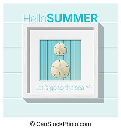 Hello summer background with seashell wall art 1
