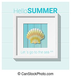 Hello summer background with seashell wall art 2