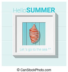 Hello summer background with seashell wall art 3