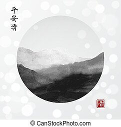 Minimalistic landscape with mountains in circle on white glowing background. Traditional oriental ink painting sumi-e, u-sin, go-hua.