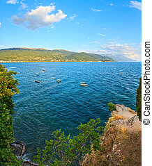 Lake Ohrid summer view. - Evening Lake Ohrid summer top view...
