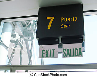 Gate 7, waiting section in the airport - waiting section in...