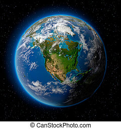 Earth in Space - Planet earth with translucent water of the...