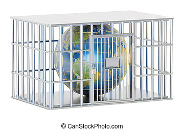 Steel cage, prison cell with Earth globe. 3D rendering...