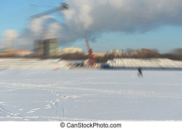 Blur wakeboard- winter active sport - The blurriness of the...