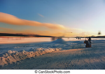 Blur wakeboard- snow removal - Blurred background, snow...