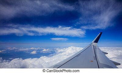azul, nubes, encima, cielo, avión, Plano de fondo, ala