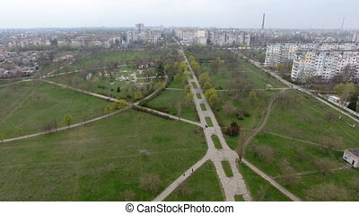 Aerial shot of a highway with several trafffic intersections leading to Kherson