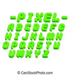 Pixel retro font video computer game design 8 bit letters...