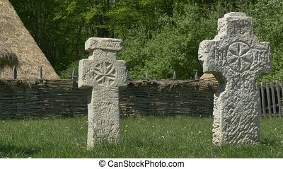 Primitive Christian Stone Crosses - Ancient stone Romanian...