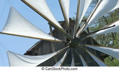 White Windmill Veils - White veils on wood frames on an...