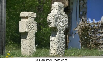 Ancient Christian Stone Cross - Two old stone ancient...