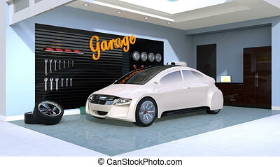 White electric vehicle charging in residential garage. 3D...