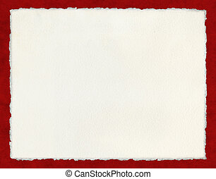 Deckled Paper on Red - Watercolor paper with true deckled...