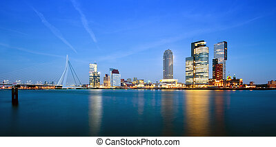 Rotterdam at dusk - The modern skyline of Rotterdam, the...