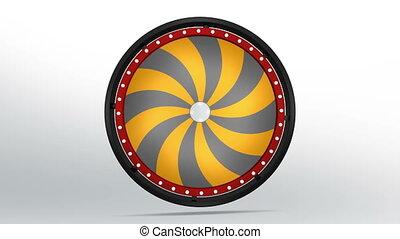 black fortune wheel of 24 area orange twirl 4K - 3D...